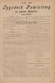 Tygodnik Powiatowy na powiat Rybnicki : organ urzędowy.1929, nr 23 (8 czerwca)