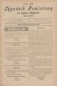 Tygodnik Powiatowy na powiat Rybnicki : organ urzędowy.1929, nr 26 (29 czerwca)