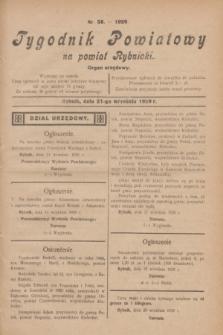 Tygodnik Powiatowy na powiat Rybnicki : organ urzędowy.1929, nr 38 (21 września)