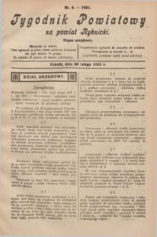 Tygodnik Powiatowy na powiat Rybnicki : organ urzędowy.1931, nr 9 (28 lutego)
