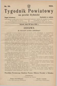 Tygodnik Powiatowy na powiat Rybnicki : organ urzędowy.1934, nr 30 (28 lipca)
