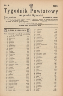 Tygodnik Powiatowy na powiat Rybnicki : organ urzędowy.1936, nr 4 (25 stycznia)