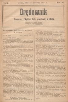 Orędownik Starostwa i Wydziału Rady powiatowej w Mielcu. R.11, nr 2 (15 kwietnia 1931)