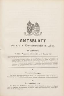 Amtsblatt des K. u. K. Kreiskommandos in Lublin.Jg.3, Stück 6 (12 Dezember 1917)