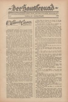 """Der Hausfreund : Unterhaltungsbeilage zum """"Ostdeutschen Volksblatt"""".1928, Nr. 8 (5 Ernting [August])"""