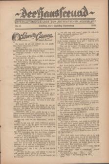 """Der Hausfreund : Unterhaltungsbeilage zum """"Ostdeutschen Volksblatt"""".1928, Nr. 13 (9 Scheiding [September])"""