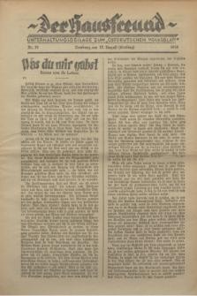 """Der Hausfreund : Unterhaltungsbeilage zum """"Ostdeutschen Volksblatt"""".1930, Nr. 33 (17 Ernting [August])"""
