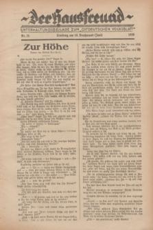 """Der Hausfreund : Unterhaltungsbeilage zum """"Ostdeutschen Volksblatt"""".1929, Nr. 24 (16 Brachmond [Juni])"""