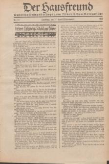 """Der Hausfreund : Unterhaltungsbeilage zum """"Ostdeutschen Volksblatt"""".1932, Nr. 16 (17 Ostermond [April])"""