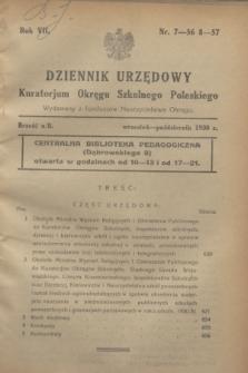 Dziennik Urzędowy Kuratorium Okręgu Szkolnego Poleskiego.R.7[!], nr 7/8 (wrzesień-październik 1930) = nr 56/57