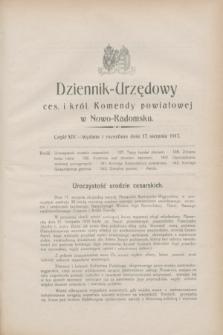 Dziennik-Urzędowy ces. i król. Komendy powiatowej w Nowo-Radomsku.1917, cz. 14 (17 sierpnia)