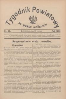 Tygodnik Powiatowy na powiat lubliniecki.1933, nr 35 (23 września)