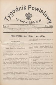 Tygodnik Powiatowy na powiat lubliniecki.1935, nr 45 (16 listopada)