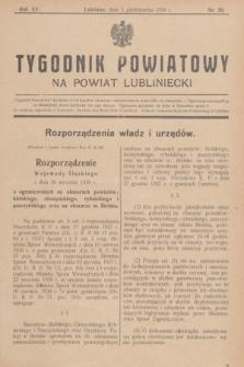 Tygodnik Powiatowy na powiat lubliniecki.R.15, nr 39 (1 października 1938)