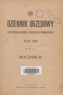 Dziennik Urzędowy Kuratorjum Okręgu Szkolnego Pomorskiego.R.2, Skorowidz (1930)