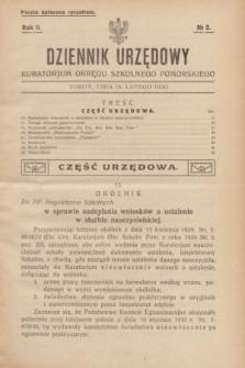 Dziennik Urzędowy Kuratorjum Okręgu Szkolnego Pomorskiego.R.2, № 2 (15 lutego 1930)