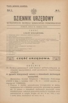 Dziennik Urzędowy Kuratorjum Okręgu Szkolnego Pomorskiego.R.2, № 3 (15 marca 1930)