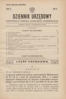 Dziennik Urzędowy Kuratorjum Okręgu Szkolnego Pomorskiego.R.2, № 4 (1 kwietnia 1930)