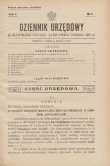 Dziennik Urzędowy Kuratorjum Okręgu Szkolnego Pomorskiego.R.2, № 5 (1 maja 1930)