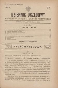 Dziennik Urzędowy Kuratorjum Okręgu Szkolnego Pomorskiego.R.2, № 7 (1 września 1930)