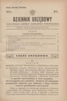 Dziennik Urzędowy Kuratorjum Okręgu Szkolnego Pomorskiego.R.2, № 8 (2 października 1930)