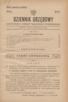 Dziennik Urzędowy Kuratorjum Okręgu Szkolnego Pomorskiego.R.2, № 10 (3 grudnia 1930) + dod.