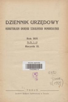 Dziennik Urzędowy Kuratorjum Okręgu Szkolnego Pomorskiego.R.3, Skorowidz (1931)