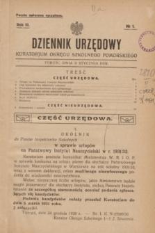 Dziennik Urzędowy Kuratorjum Okręgu Szkolnego Pomorskiego.R.3, № 1 (2 stycznia 1931)