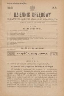 Dziennik Urzędowy Kuratorjum Okręgu Szkolnego Pomorskiego.R.3, № 2 (4 lutego 1931)