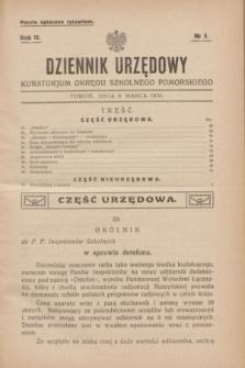 Dziennik Urzędowy Kuratorjum Okręgu Szkolnego Pomorskiego.R.3, № 3 (5 marca 1931)