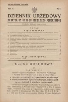Dziennik Urzędowy Kuratorjum Okręgu Szkolnego Pomorskiego.R.3, № 5 (6 maja 1931)