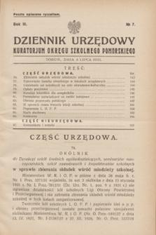 Dziennik Urzędowy Kuratorjum Okręgu Szkolnego Pomorskiego.R.3, № 7 (4 lipca 1931)