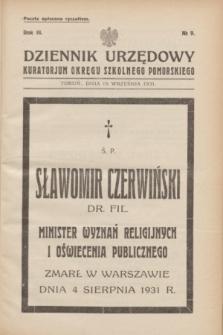 Dziennik Urzędowy Kuratorjum Okręgu Szkolnego Pomorskiego.R.3, № 9 (15 września 1931)