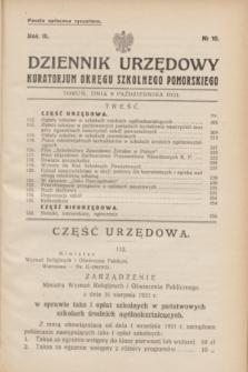 Dziennik Urzędowy Kuratorjum Okręgu Szkolnego Pomorskiego.R.3, № 10 (8 października 1931)