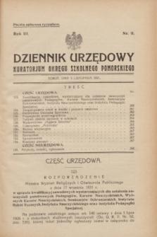 Dziennik Urzędowy Kuratorjum Okręgu Szkolnego Pomorskiego.R.3, nr 11 (5 listopada 1931)