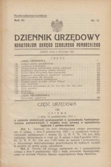 Dziennik Urzędowy Kuratorjum Okręgu Szkolnego Pomorskiego.R.3, nr 12 (5 grudnia 1931)