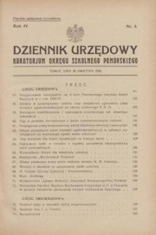 Dziennik Urzędowy Kuratorjum Okręgu Szkolnego Pomorskiego.R.4, nr 4 (20 kwietnia 1932)