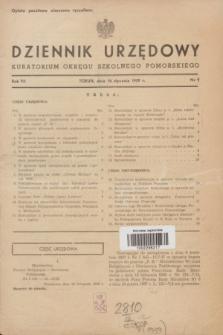 Dziennik Urzędowy Kuratorium Okręgu Szkolnego Pomorskiego.R.7, nr 1 (10 stycznia 1939)