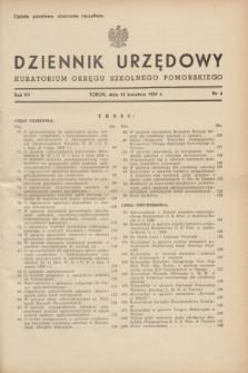 Dziennik Urzędowy Kuratorium Okręgu Szkolnego Pomorskiego.R.7, nr 4 (10 kwietnia 1939)