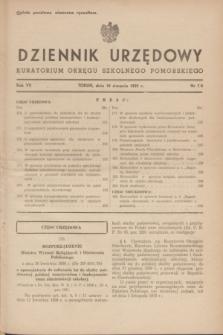 Dziennik Urzędowy Kuratorium Okręgu Szkolnego Pomorskiego.R.7, nr 7/8 (10 sierpnia 1939)