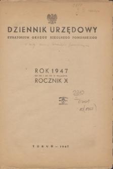 Dziennik Urzędowy Kuratorium Okręgu Szkolnego Pomorskiego.R.10, Skorowidz (1947)