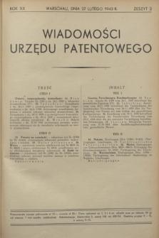 Wiadomości Urzędu Patentowego. R.20, z. 2 (27 lutego 1943)