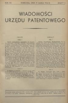 Wiadomości Urzędu Patentowego. R.20, z. 3 (31 marca 1943)