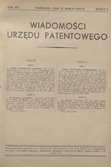 Wiadomości Urzędu Patentowego. R.19, z. 3 (31 marca 1942)