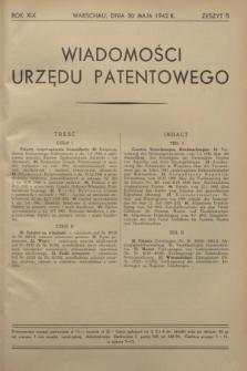 Wiadomości Urzędu Patentowego. R.19, z. 5 (30 maja 1942)