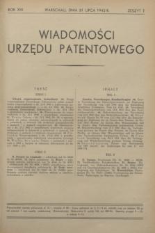 Wiadomości Urzędu Patentowego. R.19, z. 7 (31 lipca 1942)
