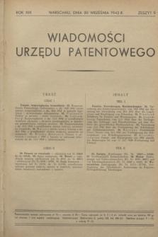 Wiadomości Urzędu Patentowego. R.19, z. 9 (30 września 1942)