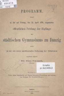 Programm des städtischen Gymnasiums zu Danzig. 1878
