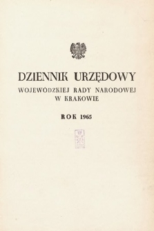 Dziennik Urzędowy Wojewódzkiej Rady Narodowej w Krakowie. 1965, skorowidz alfabetyczny |PDF|