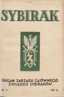 Sybirak : organ Zarządu Głównego Związku Sybiraków.R.1, nr 2 (październik 1934)